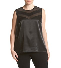 Kasper® Plus Size Mesh Peekaboo Yoke Top