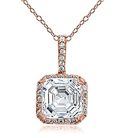 Designs by FMC Rose Gold Plated Square Cubic Zirconia Pendant