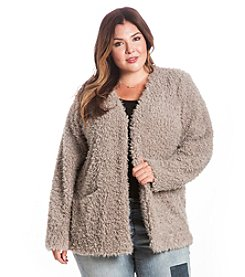 Eyeshadow® Plus Size Furry Open Jacket