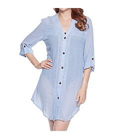 Dotti Shirt Dress Swim Cover-Up With Crochet Inset