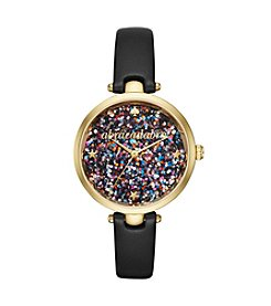kate spade new york® Black Leather Strap Glitter Dial Watch
