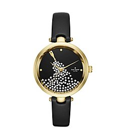 kate spade new york ® Black Leather Strap Goldtone Watch