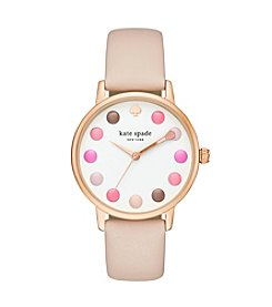 kate spade new york® Leather Strap Metro Makeup Watch