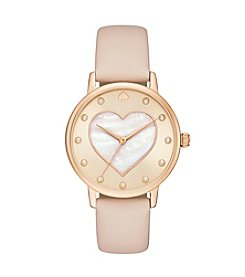 kate spade new york® Leather Strap Metro Heart Watch