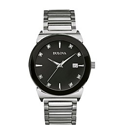 Bulova® Men's Diamond Collection Black Dial Watch