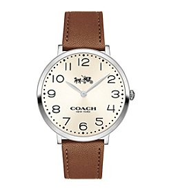 COACH Women's 35mm Slim Easton Stainless Steel Brown Leather Strap Watch