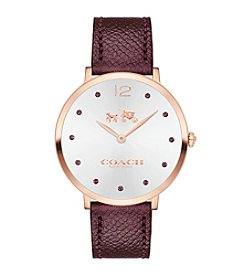COACH WOMEN'S 35mm SLIM EASTON CARNATION GOLDTONE SUNRAY DIAL RED LEATHER STRAP WATCH