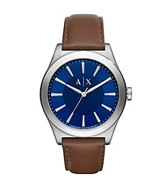 A|X Armani Exchange Leather Strap Stainless Steel Watch