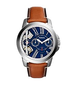 Fossil® Men's 42mm Grant Twist Three Hand Watch with Leather Strap