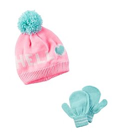 Carter's® Girls' 2T-4T Hello Pom Hat and Gloves Set