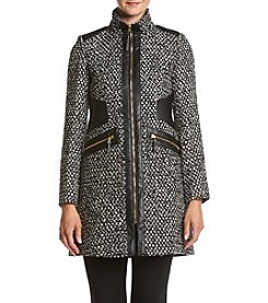 Via Spiga® Boiled Wool Faux Leather Detail Coat