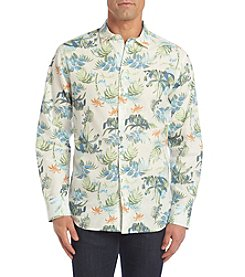 Paradise Collection® Men's Long Sleeve Button Down Printed Linen Shirt