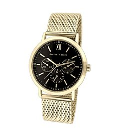 Geoffrey Beene Gold Mesh Black Dial Watch