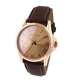 Rampage® Rose Goldtone Laser Glass Brown Strap Watch