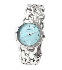 Rampage® Silvertone Double Chain Crystal Accent Bracelet Watch