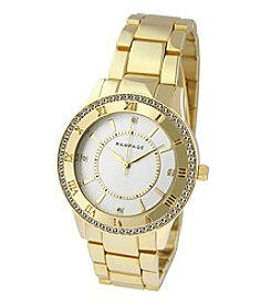 Rampage® Goldtone Crystal Bezel & Roman Numeral Accent Bracelet Watch