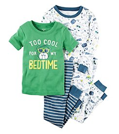 Carter's® Boys' 9M-12 4-Piece Too Cool Bulldog Pajama Set