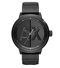 A|X Armani Exchange IP Leather Strap and Matte Dial Watch