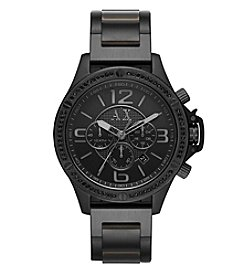 Armani Exchange 48mm Black IP Stainless Steel Y Link Bracelet Watch