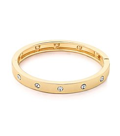 GUESS Goldtone Hinged Crystal Accent Bangle Bracelet