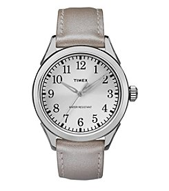 Timex® Women's Briarwood Terrace Silvertone Leather Strap Watch