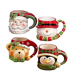 Certified International Set of 4 Holiday Mugs