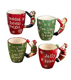 Certified International Set of 4 Holiday Handle Mugs