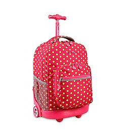 J World® Sunrise Pink Button Rolling Backpack