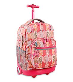 J World® Sunrise Pink Forest Rolling Backpack