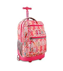 J World® Sundance Pink Forest Rolling Backpack