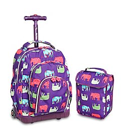 J World® Lollipop Elephant Rolling Backpack and Lunch Bag