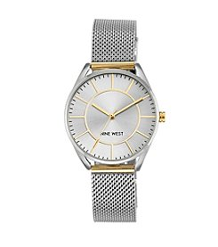 Nine West® Two-Tone Mesh Bracelet Watch