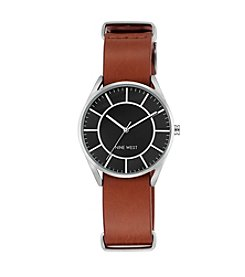 Nine West® Silvertone And Luggage Brown Leather Strap Watch