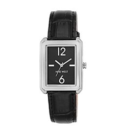 Nine West® Silvertone Rectangular Strap Watch