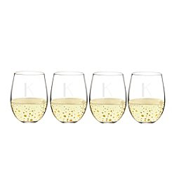 Cathy's Concepts Set of 4 Personalized Gold Dotted Stemless Wine Glasses