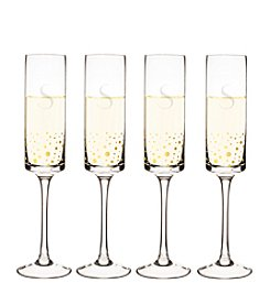 Cathy's Concepts Set of 4 Personalized Gold Dotted Contemporary Champagne Flutes
