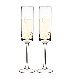 Cathy's Concepts Set of 2 Personalized Gold Dotted Contemporary Champagne Flutes