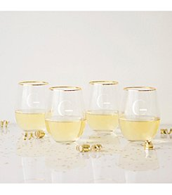 Cathy's Concepts Personalized Set of Four Gold Rim Stemless Wine Glasses