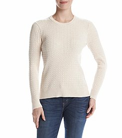 Jeanne Pierre® Cable Crew Neck Sweater