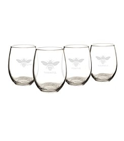 Cathy's Concepts  Set of 4 Bee Thankful Stemless Wine Glasses