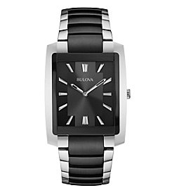 Bulova® Men's Two-Tone Rectangle Watch