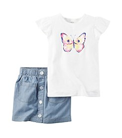 Carter's® Girls' 4-8 2-Piece Butterfly Top And Skirt Set