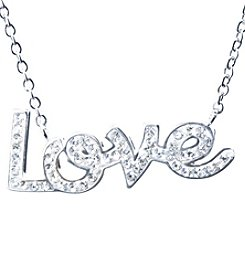 Athra Silver-Plated Crystal Love Necklace