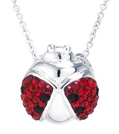Athra Silver-Plated Crystal Ladybug Pendant Necklace