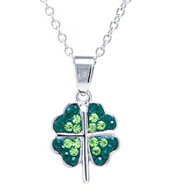 Athra Silver-Plated Crystal Clover Pendant Necklace