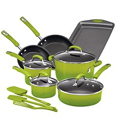 Rachael Ray® 14-pc. Hard Enamel Nonstick Green Gradient Cookware Set