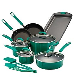 Rachael Ray® 14-pc. Hard Porcelain Enamel Nonstick Fennel Cookware Set