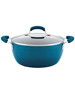 Rachael Ray® 5.5-Qt. Hard Enamel Nonstick Marine Blue Covered Casserole