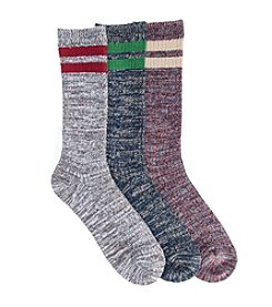 MUK LUKS Men's Microfiber Three-Pair Striped Sock Pack