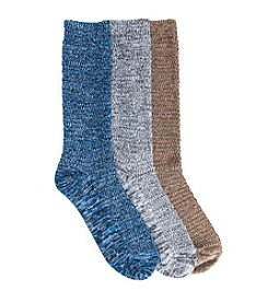 MUK LUKS Men's Microfiber Three-Pair Marl Sock Pack